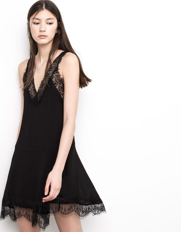 Pull&Bear - mujer - novedades - vestido lencero - negro - 05391304-V2016