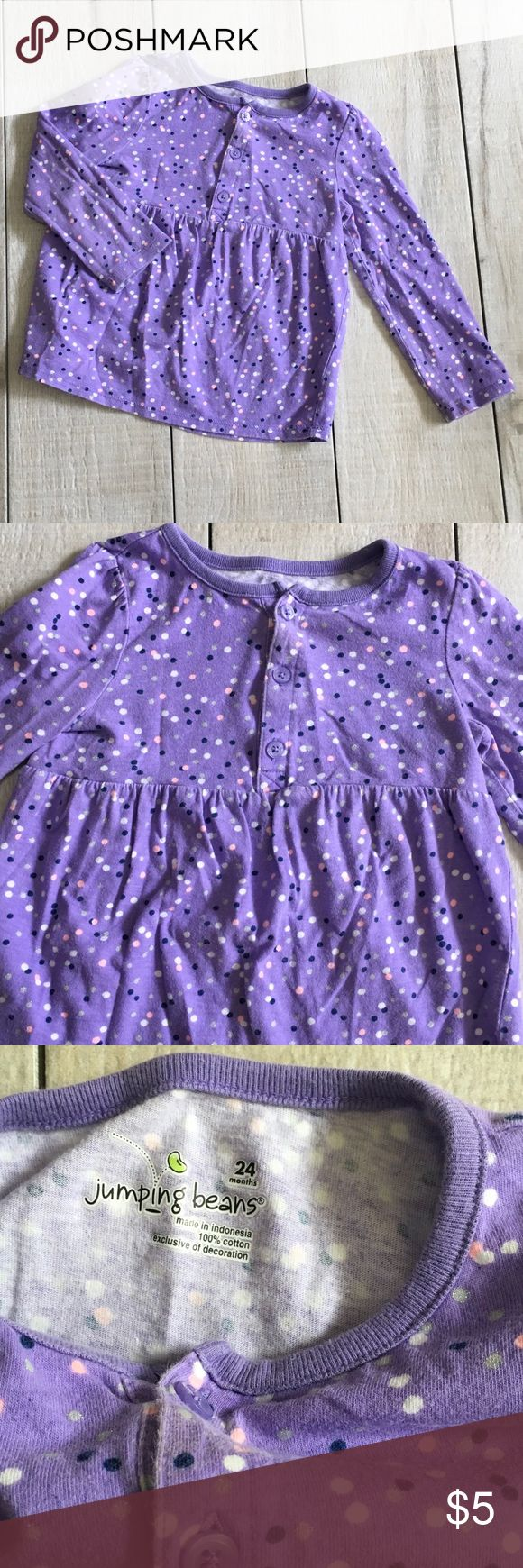 NEW ITEM - Polka Dot Metallic Long Sleeve Top Size 24m. Jumping Beans long sleeve tee shirt top with polka dots and metallic silver dots. 100% cotton. Good used condition with wash wear/fading. Smoke free home. Unscented laundry products. Shirts & Tops Tees - Long Sleeve