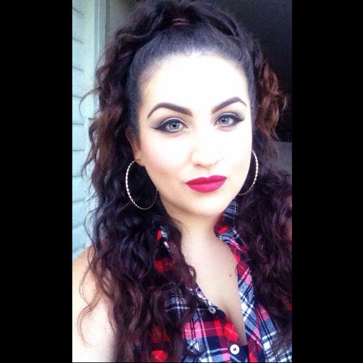 Big hair Latina curls big hoops