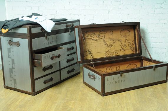 Vintage Time Travel Trunk industrial style hand made chest trunk made from aluminium and real leather details featuring interior world map by smithersofstamford. Explore more products on http://smithersofstamford.etsy.com