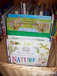 Spring nature book basket http://sunnydaytodaymama.blogspot.co.uk/2010/03/spring-nature-book-basket-and-felix-and.html