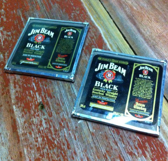 TWO Jim Beam Coasters  Jim Beams Devils Cut and by BaxtersWorkshop, $14.00