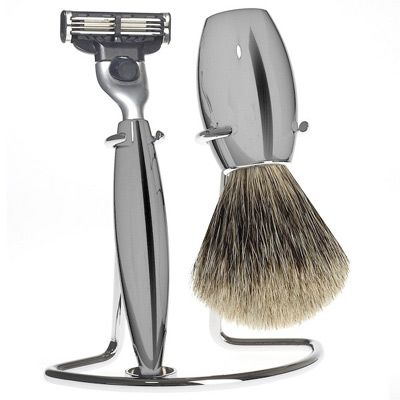 MUHLE SHAVING | Razor Set M863 | NICKEL - - - The Shaving Set M863 has the noble grey shine (slightly darker than chrome) of beautifully nickel plated metal handles and offers exceptional value for money. The brush is made with soft fine badger hair. The shaving set is completed with an elegant chrome plated shaving stand.