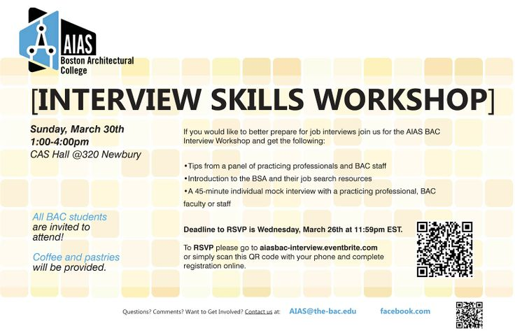 AIAS Interview Skills Workshop on March 30th Get tips from - interview workshop