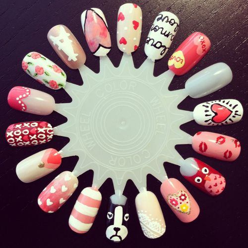Valentine's Day nail art wheel  by LookAtHerNails