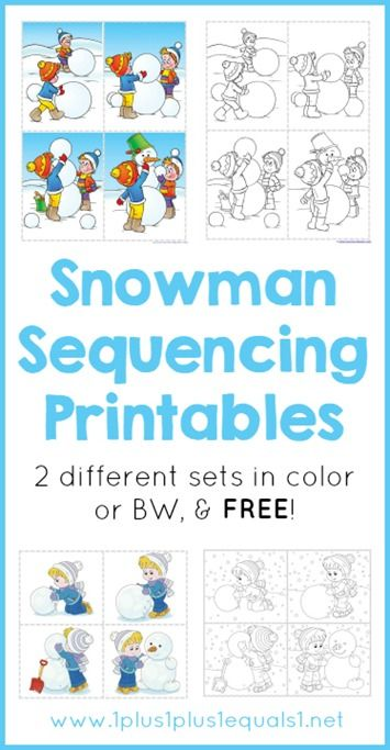 Free Snowman Sequencing Printables ~ 2 sets, in color or BW for coloring