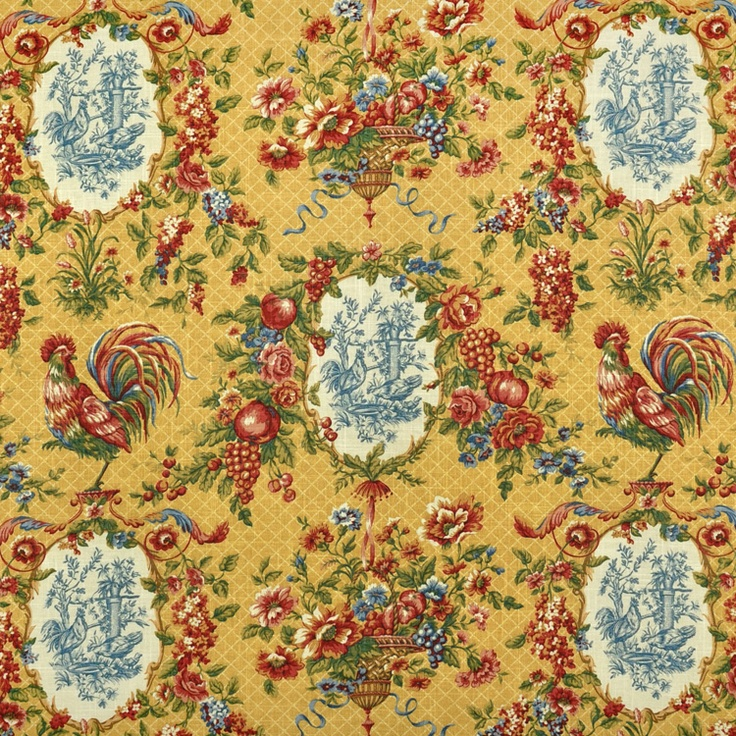 Waverly Saison De Printemps Saffron Fabric. Toile Fabric