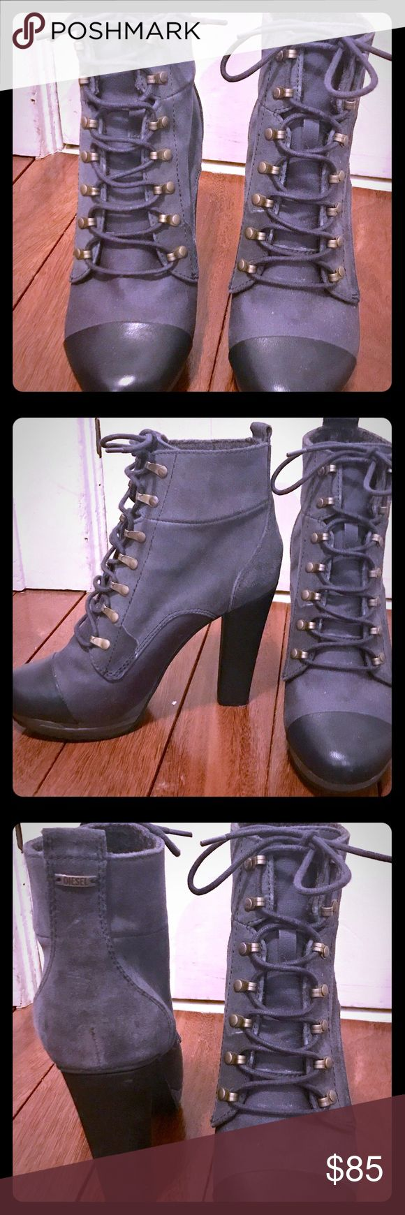 Blue Diesel heeled booties Blue lace up heeled booties Diesel Shoes Ankle Boots & Booties