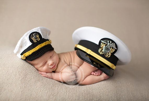 Crochet US Navy Hat, Navy Officer Hat, Military Hat, Newborn Photography Prop -- Made to order