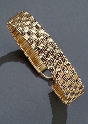 "Custom Jewelry Designs and Wire Wrapped Jewelry 14kt gold filled wire baset weave bracelet, 1/2"" wide, 7.5"" around"