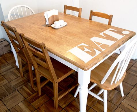 before and after table transformation. we have this same table we got at a yard sale- we should try this.