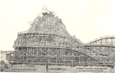 White City, Sydney. Scenic Railway Mountains in Construction.