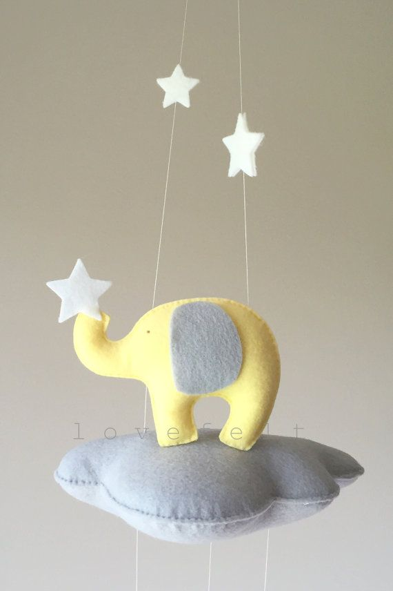 Baby Mobile Cloud Mobile Elephant Mobile by lovefeltmobiles