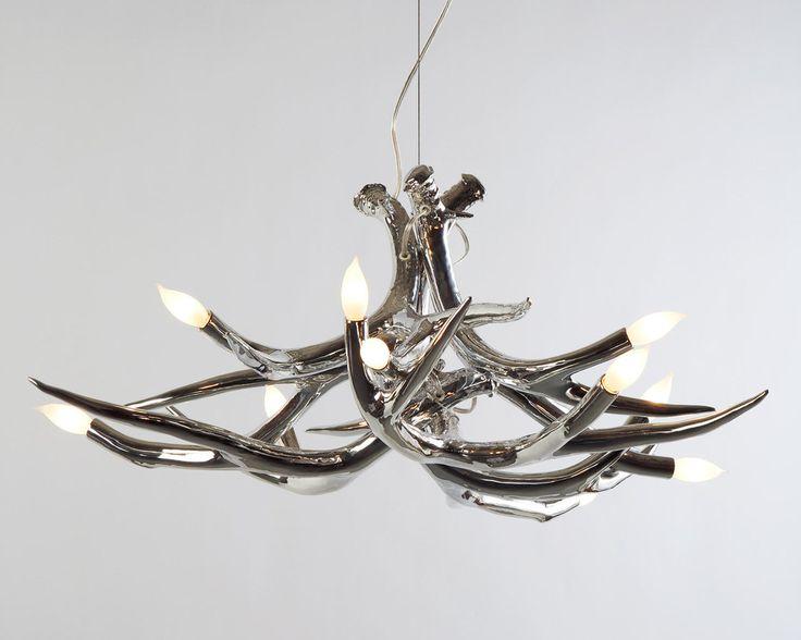 Jason Miller Studio — metallic chrome Antler Chandelier