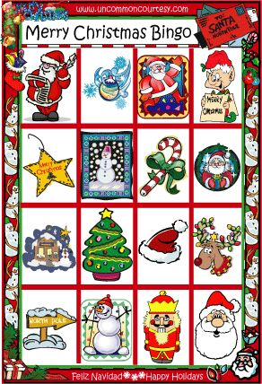 Merry Christmas Bingo- Print this game today for as little as $1.99 on uncommoncourtesy.com!