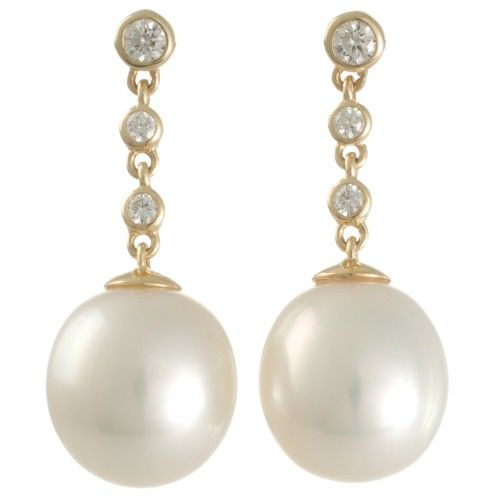 High lustre White South Sea pearl, yellow gold and diamond earrings. View our collection of pearl jewellery at www.rutherford.com.au