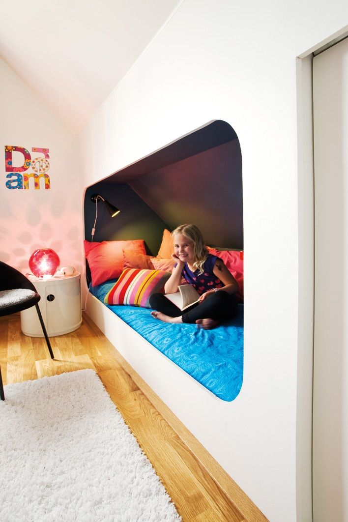 This is a fun idea for a loft room with a slanted ceiling. I can think of a few kids who would LOVE it.