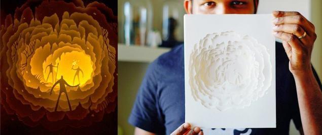Сегодня наткнулась на удивительные работы двух художников. Художники из Индии, творящие под псевдонимами Харикришнан Паникер и Диипти Наир (Harikrishnan Panicker & Deepti Nair). В настоящее время живут в Денвере (США). Они вырезают из высокосортной бумаги удивительные многослойные инсталляции, которые устанавливают в световые короба, превращая их в потрясающие картины.
