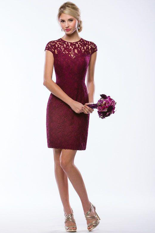 Charming Burgundy Lace Cap Sleeves Hollow Knee Length Short Bridesmaid Dress