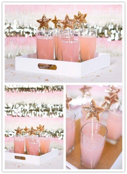 The Best Wizard of Oz Birthday Party ideas - DIY sequin star stick in pink lemonade (Glinda)
