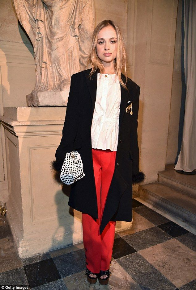 Fashionable royal: Lady Amelia Windsor chose an effortlessly chic ensemble at the Sonia Rykiel's AW17 show in Paris on Saturday