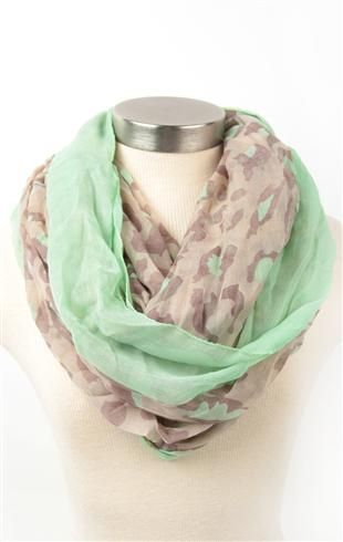 Deb Shops #mint #leopard print infinity #scarf with colored trim $9.99