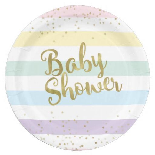 Faux Gold Foil, Pastel Rainbow Stripes Baby Shower 9 Inch Paper Plate