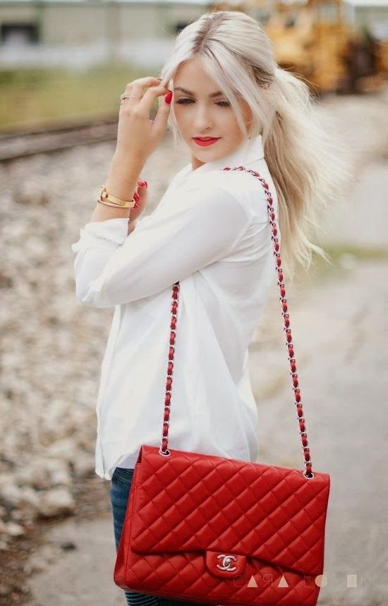 Attractive White Shirt With Red Handbag