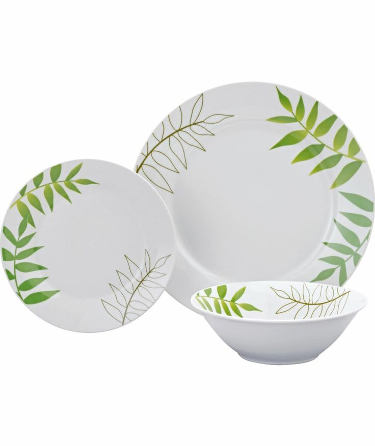 Buy Living 12 Piece Porcelain Green Leaf Dinner Set at Argos.co.uk - Your Online Shop for Crockery.