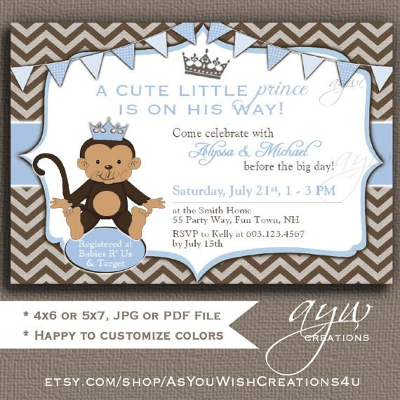 monkey baby shower invitation monkey prince baby shower invitations printable invites prince monkey baby shower boy chevron blue brown