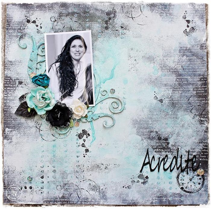 Luciana Warnowski's layouts is elegant and gorgeous, with a wonderful mix of charcoal and black tones...finished off with a splash of beautiful tourquoise added with Color Bloom Spray and Prima flowers! The sketch provided the base for a winning project!