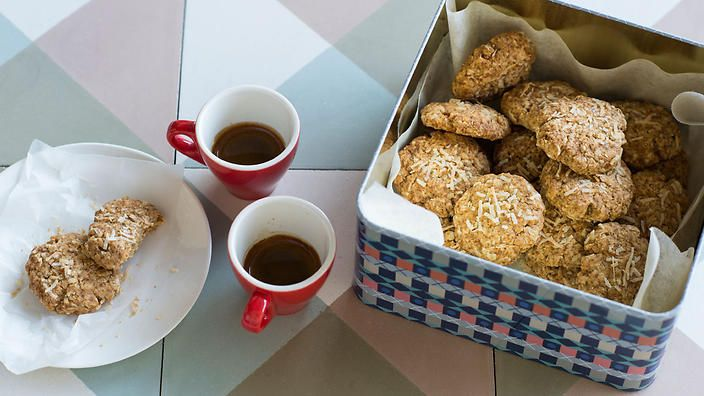 Anneka Manning's #coconut #oat #biscuits are destined for dunking. Add chopped dark chocolate or pitted dates to the mixture if you want extra oomph. Check out our Bakeproof column for tips and recipes.