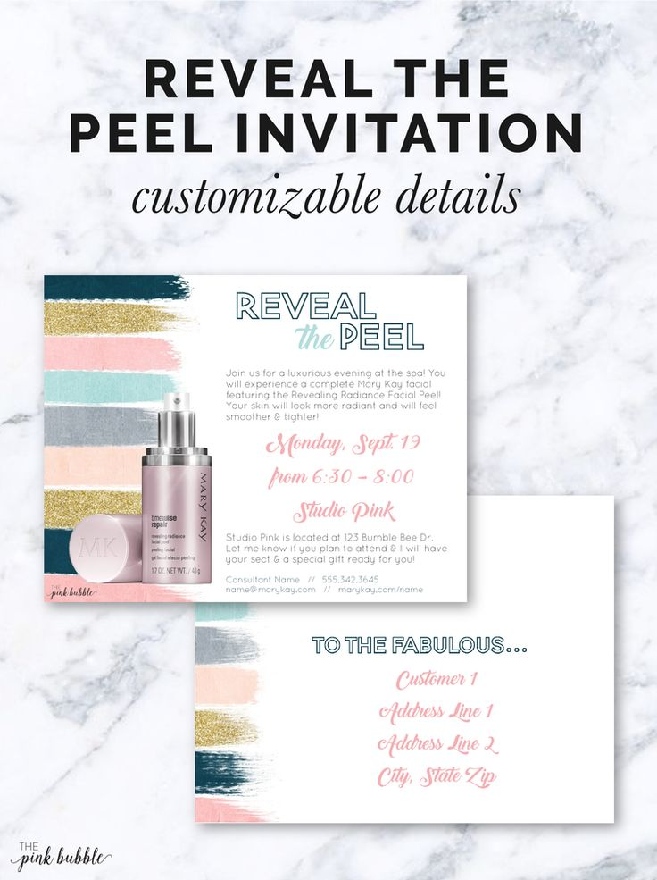 Mary Kay Reveal the Peel Invitation! Featuring the Revealing Radiance Facial Peel! Find it only at www.thepinkbubble.co!