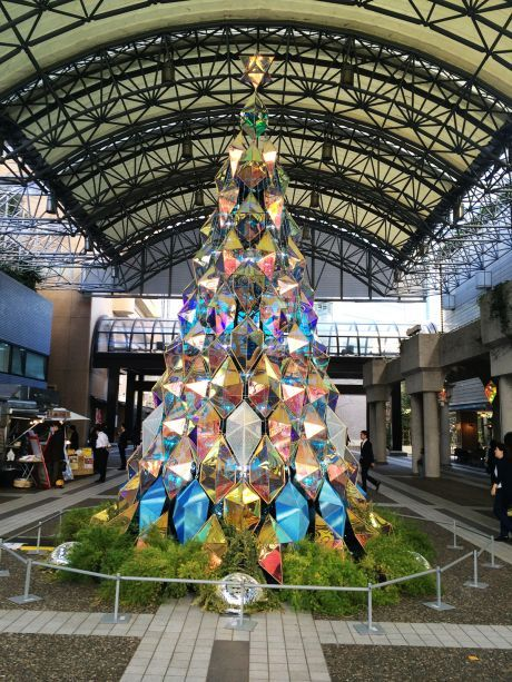 A giant Christmas tree stands in the plaza at Ark Hills in #Tokyo.