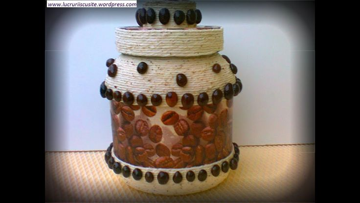 Tutorial borcan cu sfoara si cafea-- Jar tutorial with string and coffee
