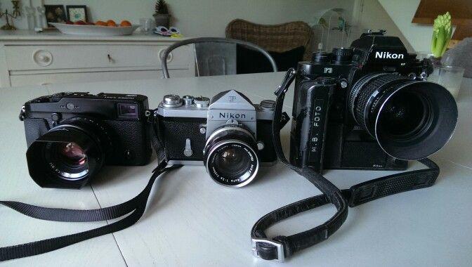 Of topic My cameras. Nikon F from 1965 My Nikon F3P (my workhorse) And my latest camera Fuji x pro 1 Fuji x pro brings joy back to photo. My Nikon D3S takes a rest. #watchblogdk #nikkor #nikond3s #fujixpro