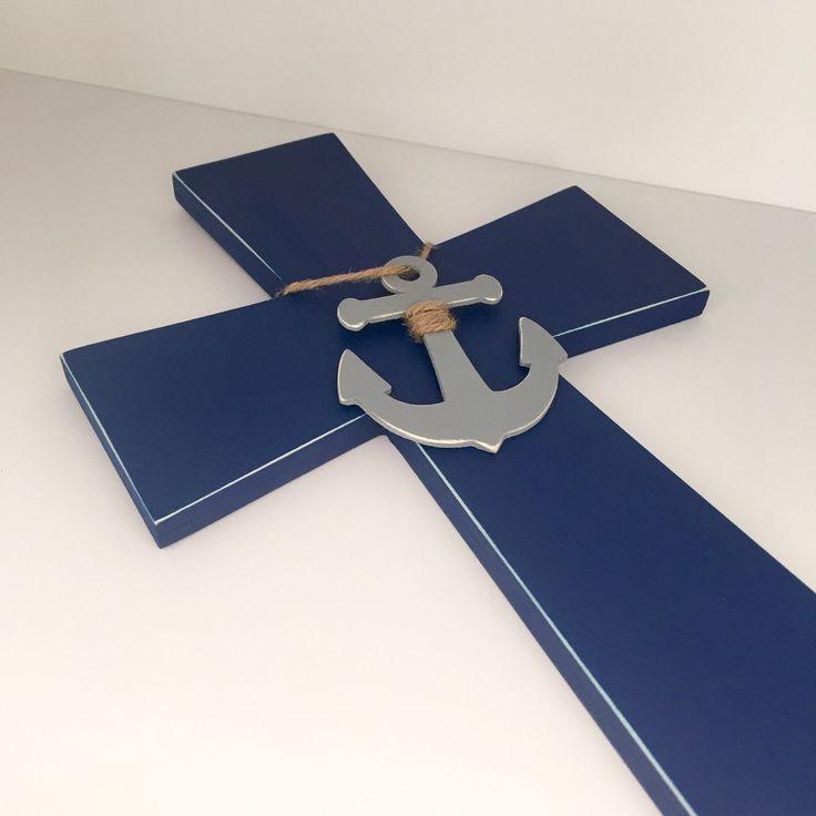 Large nautical cross ⚓️ https://www.etsy.com/listing/256137111/nautical-cross-navy-anchor-wall-cross