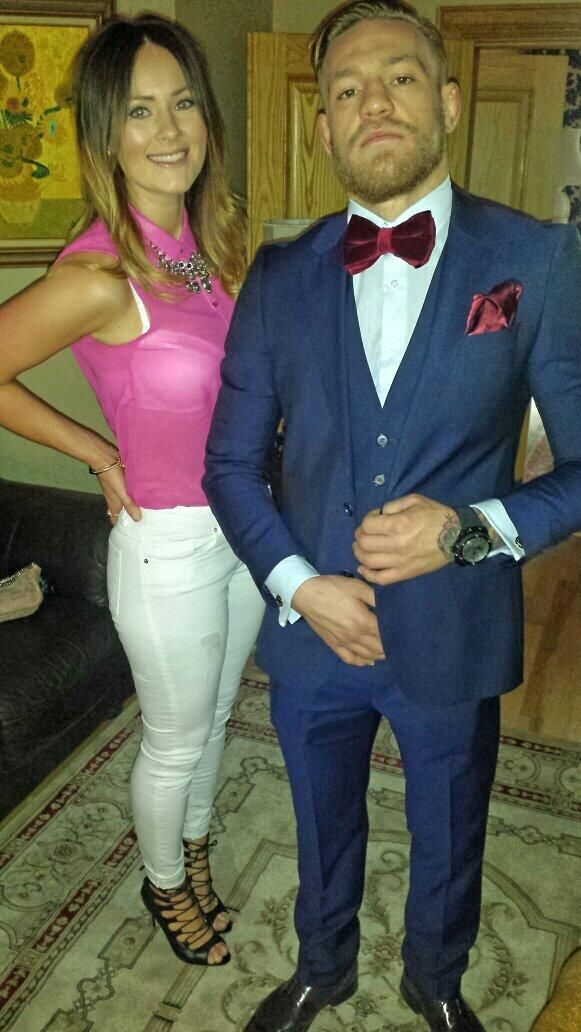 Conor McGregor being a ham in a big-ass bow-tie, w/ girlfriend Dee Devlin : if you love #MMA, you'll love the #UFC & #MixedMartialArts inspired fashion at CageCult: http://cagecult.com/mma