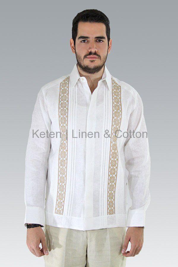 Guayabera Blanca de Lino Con Bordado a Mano Punto de Cruz Caqui #Guayaberas #Keten #Boda #Formal #Wedding