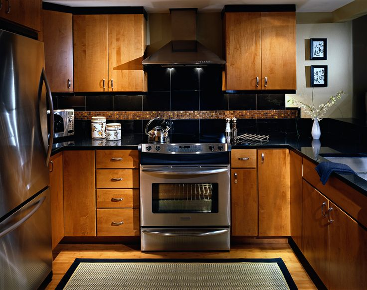 Condo kitchen with Asian feel Slab maple cabinet doors