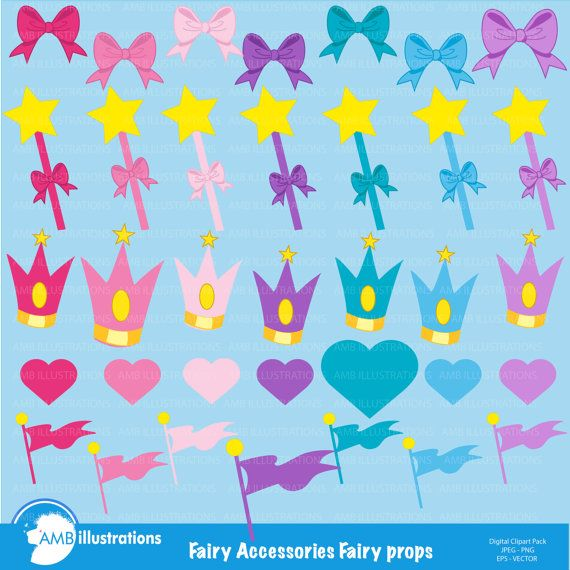 Fairy accessories clipart, 35 cliparts, commercial use, digital clipart, vector image, instant download, AMB-302