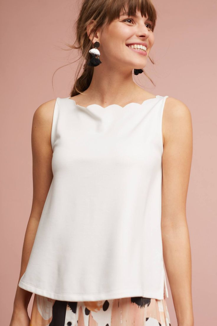 Slide View: 1: Meg Scalloped Tank