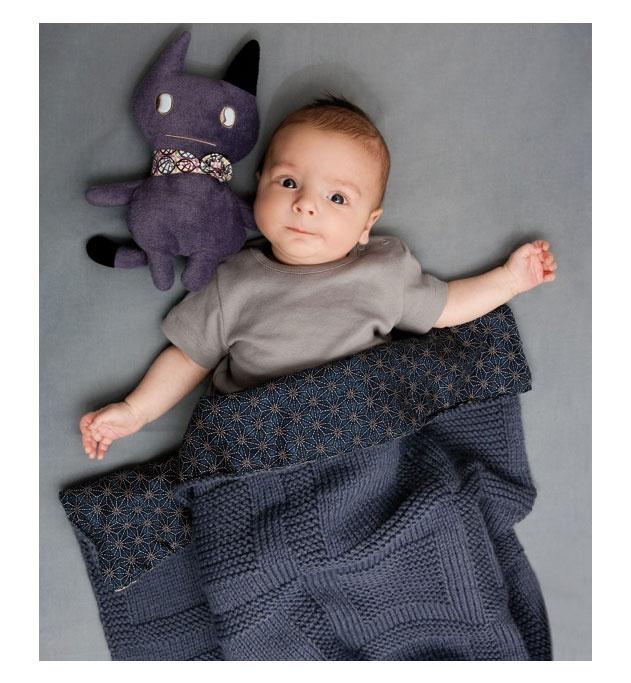 Modèle couverture bébé grise - Modèles Layette - Phildar