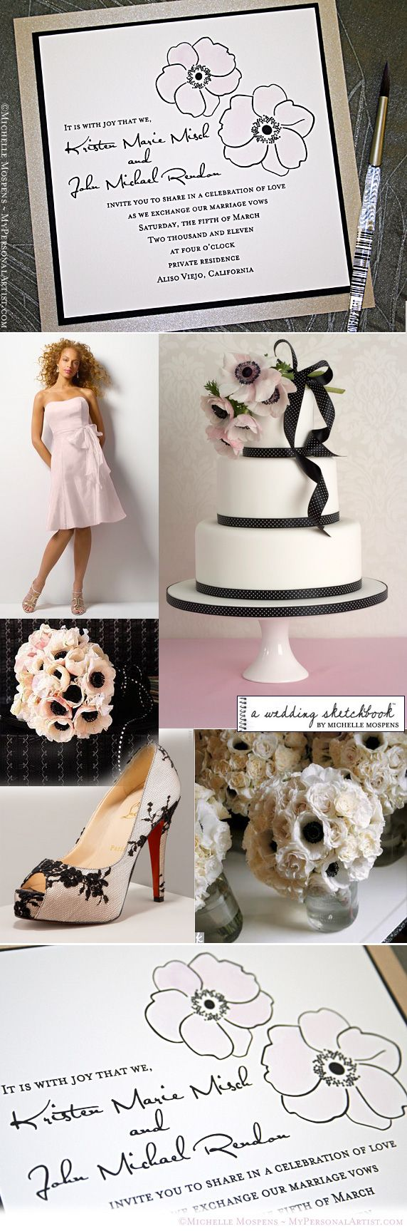 blush and black wedding