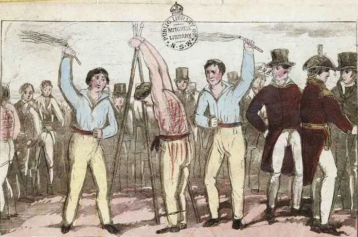 Convicts being whipped with a cat of nine tails