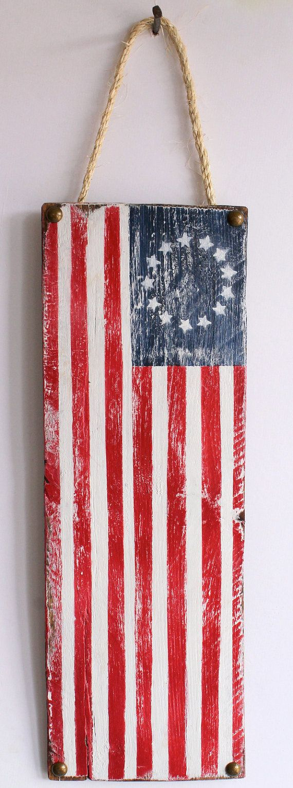 Custom American Flag on Distressed Wood USA Original Red White and Blue Stars and Stripes July 4th Holiday Decor Americana Cottage Decor via Etsy