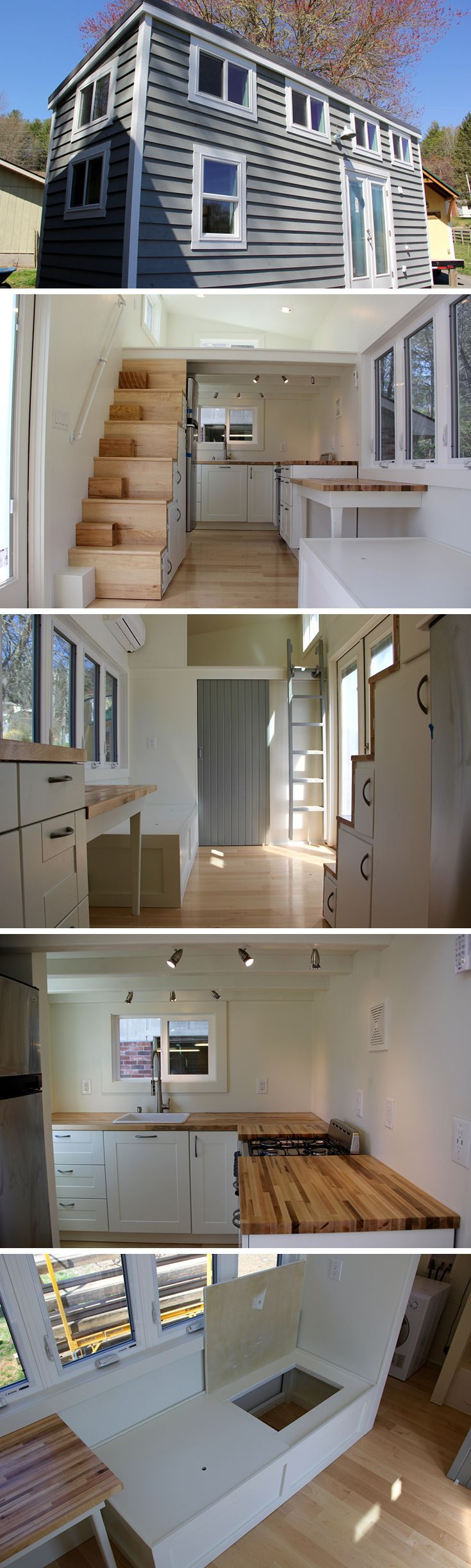 The Chickadee tiny house on wheels is an 8′ × 24′ design by Brevard Tiny House.  The model features two lofts, stair storage, and a bathtub.  The abundant stair storage uses slide-out shelving and has room for an apartment-size refrigerator.