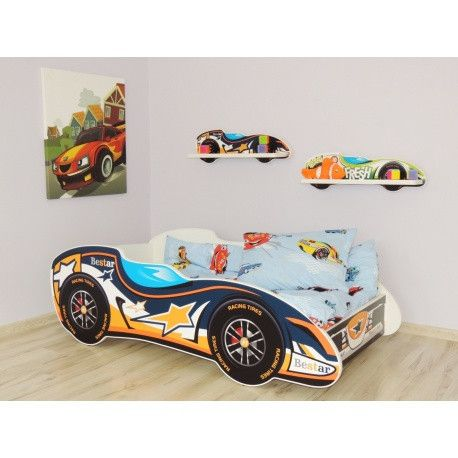 Best star racing car bed for toddlers - orange, white and blue, bright colours - The Little Bedroom Company