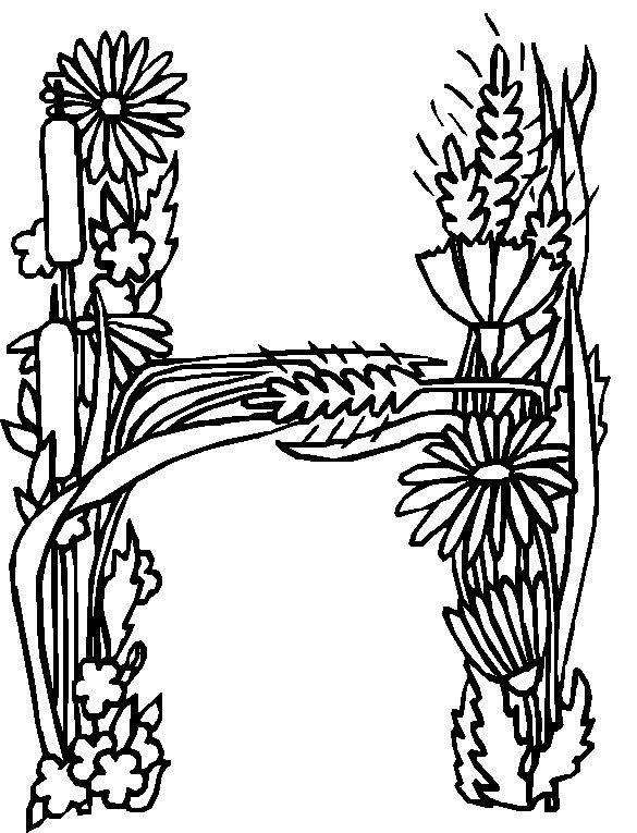 coloring page Alphabet Flowers Kids-n-Fun