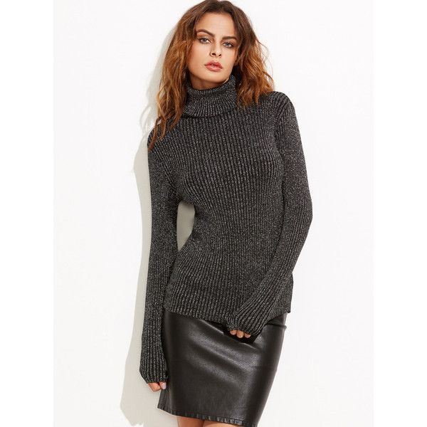 Black Turtleneck Ribbed Sweater (22 BAM) ❤ liked on Polyvore featuring tops, sweaters, turtle neck sweater, turtleneck sweaters, polo neck sweater, ribbed top and rib top
